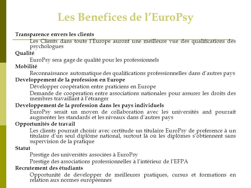 Les Benefices de lEuroPsy Transparence envers les clients Les Clients dans toute lEurope auront une meilleure vue des qualifications des psychologues