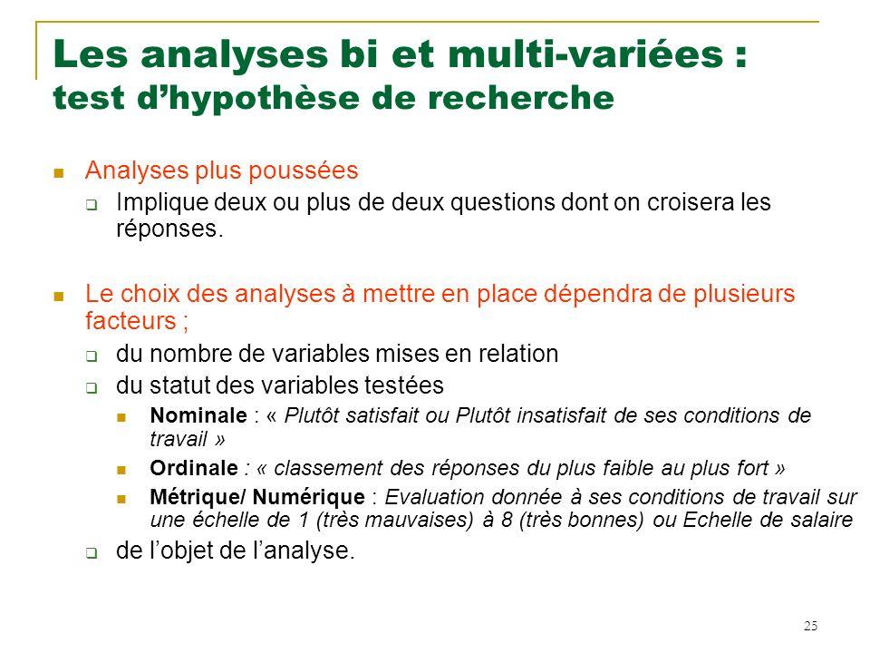 25 Les analyses bi et multi-variées : test dhypothèse de recherche Analyses plus poussées Implique deux ou plus de deux questions dont on croisera les réponses.