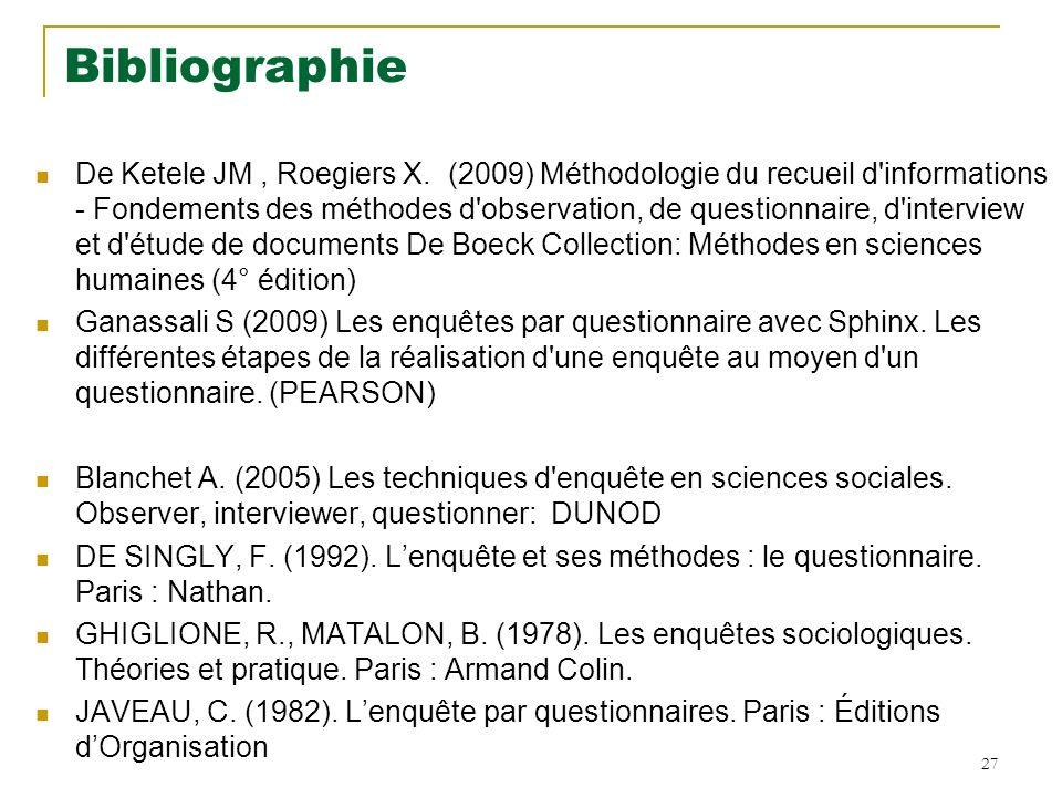 Bibliographie De Ketele JM, Roegiers X.