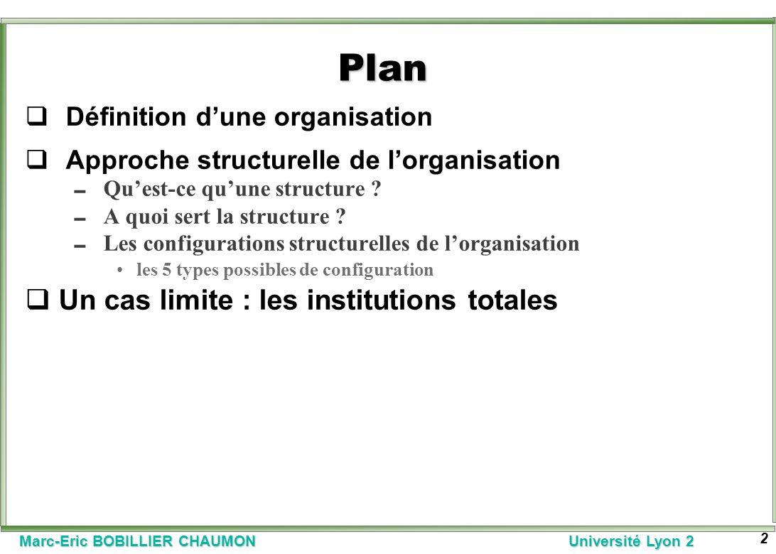 Marc-Eric BOBILLIER CHAUMON Université Lyon 2 2 Plan Définition dune organisation Approche structurelle de lorganisation Quest-ce quune structure ? A