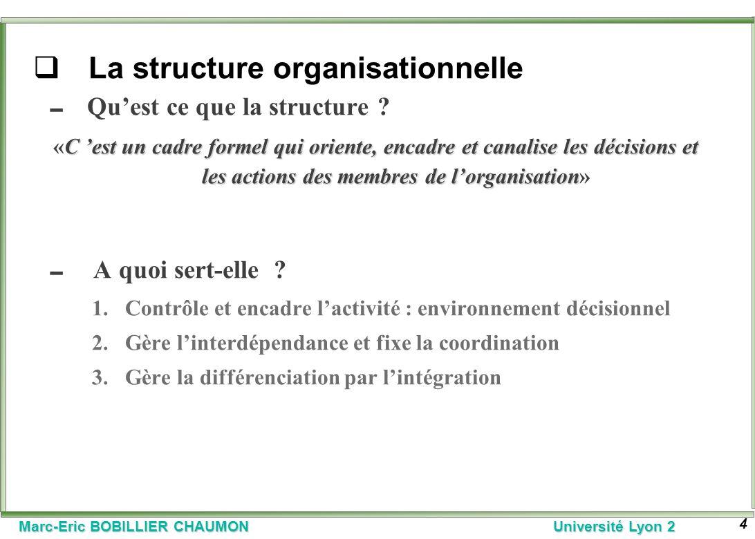 Marc-Eric BOBILLIER CHAUMON Université Lyon 2 4 La structure organisationnelle Quest ce que la structure ? C est un cadre formel qui oriente, encadre