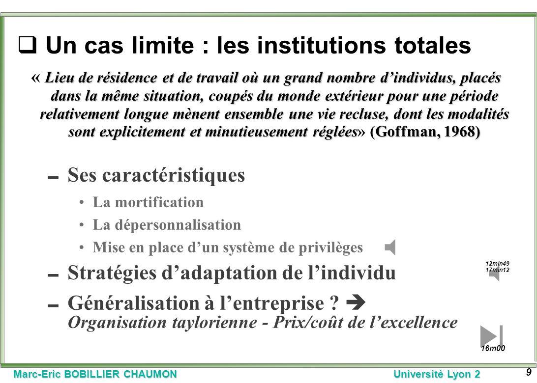 Marc-Eric BOBILLIER CHAUMON Université Lyon 2 9 Un cas limite : les institutions totales Lieu de résidence et de travail où un grand nombre dindividus