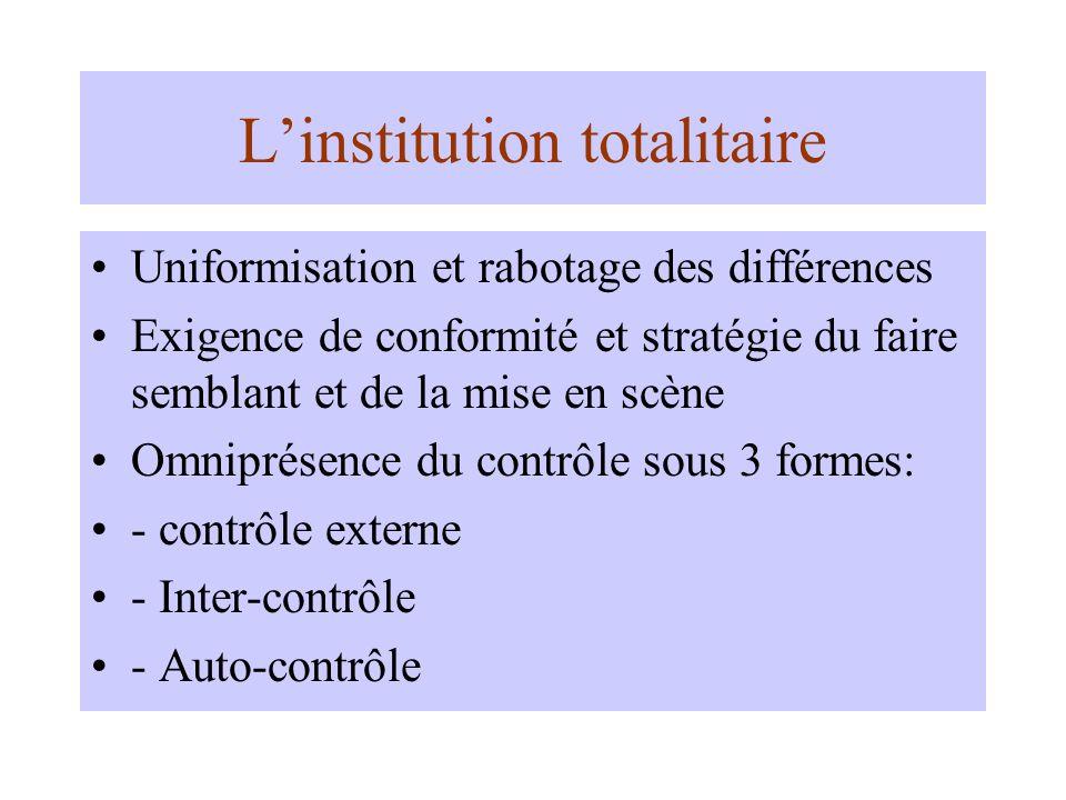 Linstitution totalitaire Uniformisation et rabotage des différences Exigence de conformité et stratégie du faire semblant et de la mise en scène Omniprésence du contrôle sous 3 formes: - contrôle externe - Inter-contrôle - Auto-contrôle