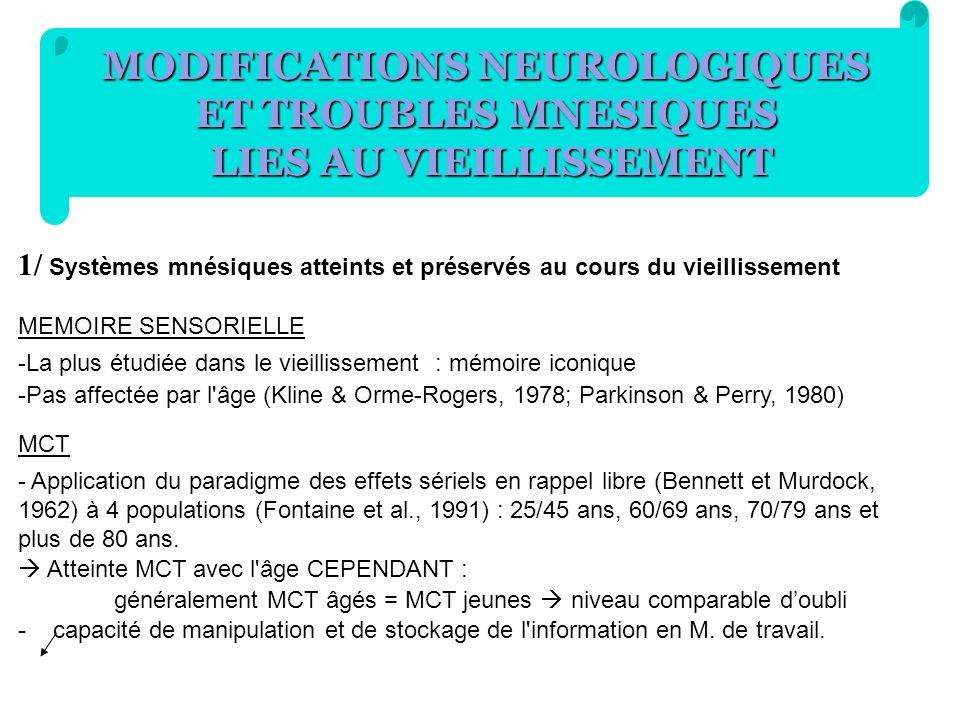MODIFICATIONS NEUROLOGIQUES ET TROUBLES MNESIQUES LIES AU VIEILLISSEMENT 1/ Systèmes mnésiques atteints et préservés au cours du vieillissement MEMOIR