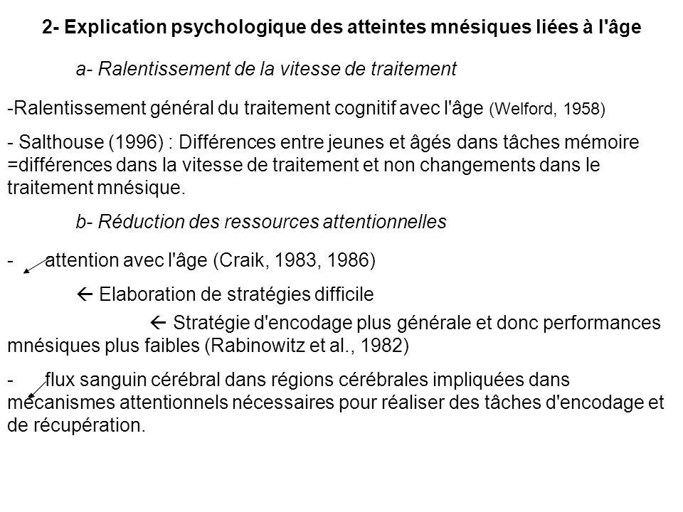 2- Explication psychologique des atteintes mnésiques liées à l'âge a- Ralentissement de la vitesse de traitement -Ralentissement général du traitement