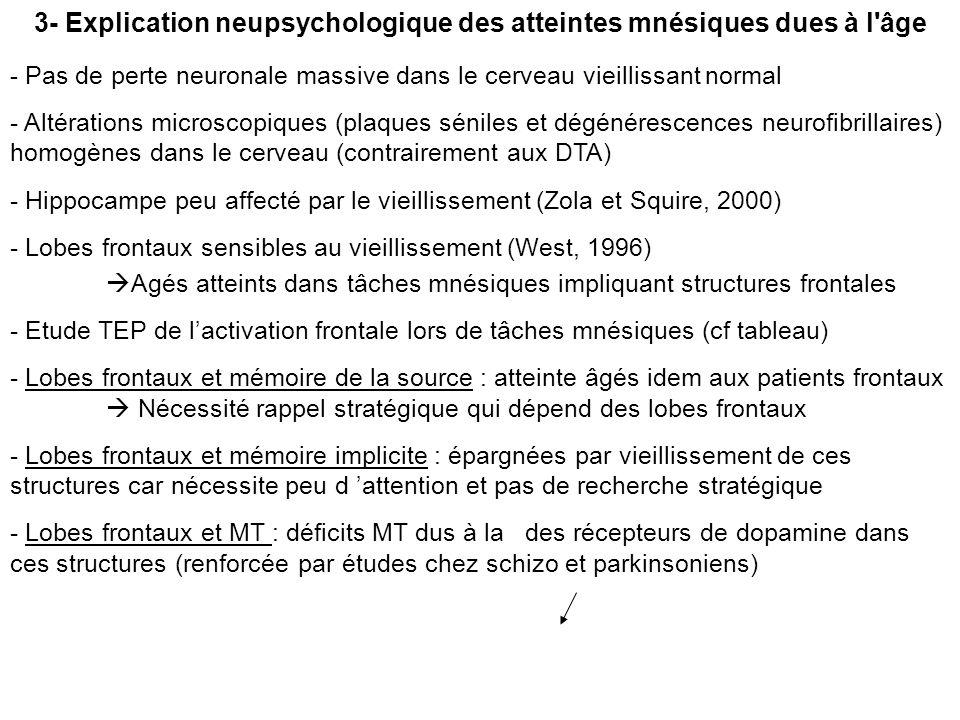3- Explication neupsychologique des atteintes mnésiques dues à l'âge - Pas de perte neuronale massive dans le cerveau vieillissant normal - Altération