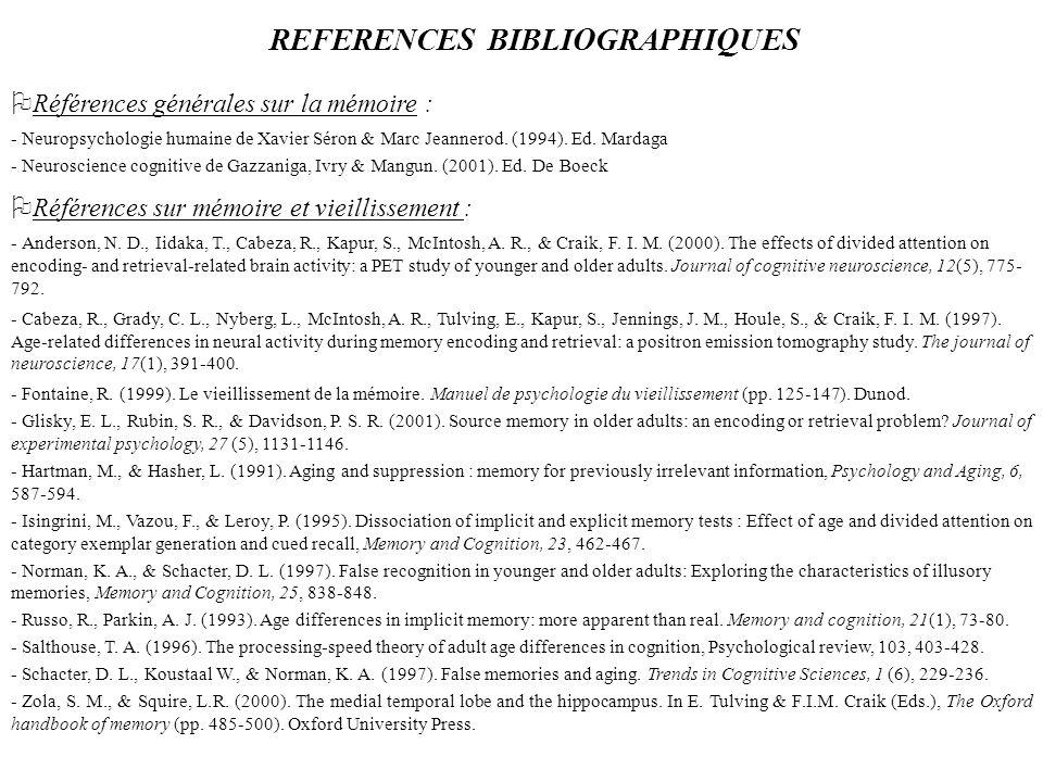 REFERENCES BIBLIOGRAPHIQUES Références générales sur la mémoire : - Neuropsychologie humaine de Xavier Séron & Marc Jeannerod. (1994). Ed. Mardaga - N