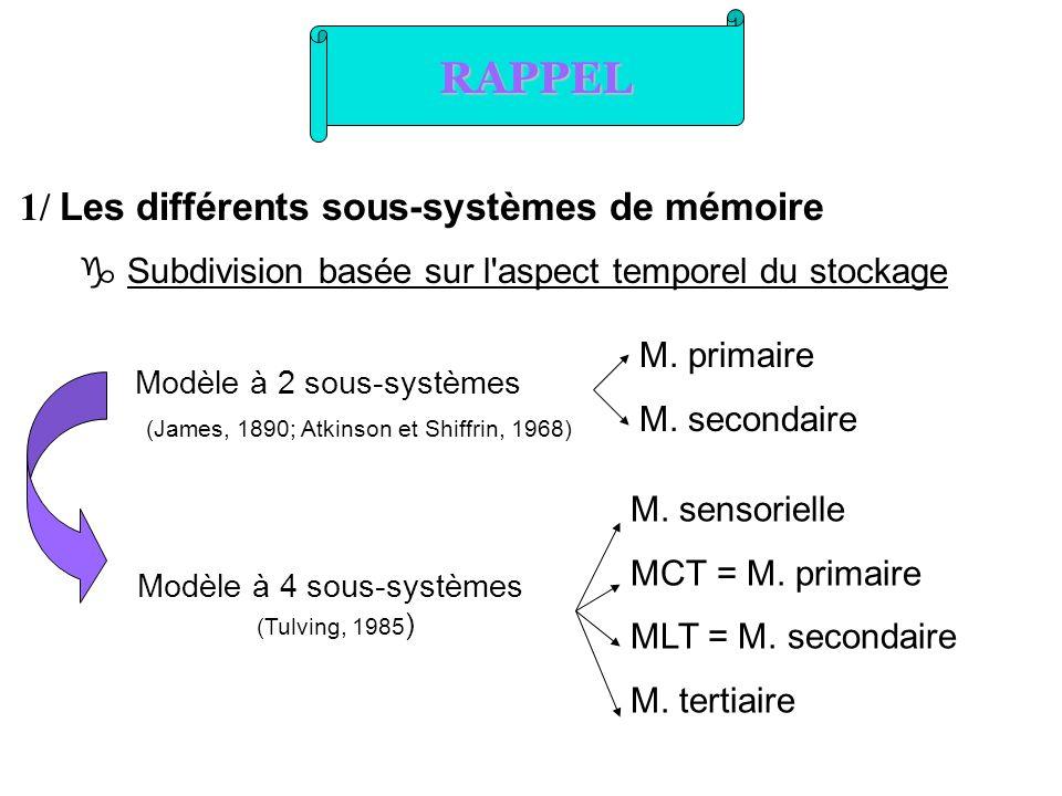 RAPPEL 1/ Les différents sous-systèmes de mémoire Subdivision basée sur l'aspect temporel du stockage Modèle à 2 sous-systèmes (James, 1890; Atkinson