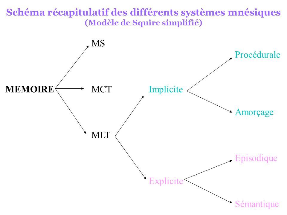 3- Explication neupsychologique des atteintes mnésiques dues à l âge - Pas de perte neuronale massive dans le cerveau vieillissant normal - Altérations microscopiques (plaques séniles et dégénérescences neurofibrillaires) homogènes dans le cerveau (contrairement aux DTA) - Hippocampe peu affecté par le vieillissement (Zola et Squire, 2000) - Lobes frontaux sensibles au vieillissement (West, 1996) Agés atteints dans tâches mnésiques impliquant structures frontales - Etude TEP de lactivation frontale lors de tâches mnésiques (cf tableau) - Lobes frontaux et mémoire de la source : atteinte âgés idem aux patients frontaux Nécessité rappel stratégique qui dépend des lobes frontaux - Lobes frontaux et mémoire implicite : épargnées par vieillissement de ces structures car nécessite peu d attention et pas de recherche stratégique - Lobes frontaux et MT : déficits MT dus à la des récepteurs de dopamine dans ces structures (renforcée par études chez schizo et parkinsoniens)