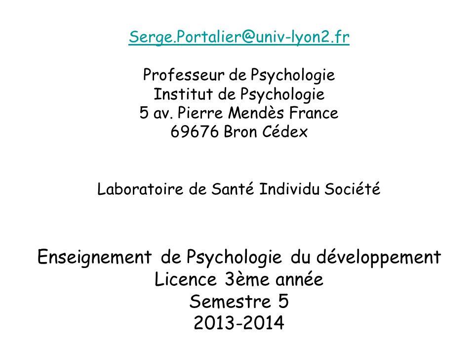 Serge.Portalier@univ-lyon2.fr Professeur de Psychologie Institut de Psychologie 5 av.