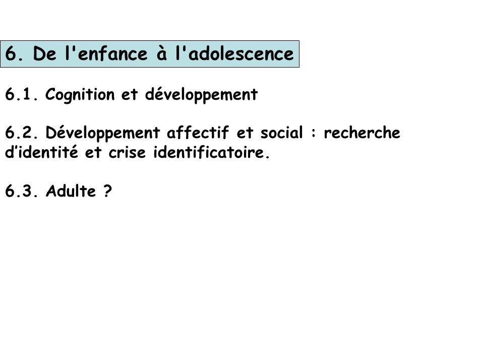 5. Développement de 6 à 12 ans 5.1. Motricité générale : - transformations liées à la puberté, - personnalité et morphotype 5.2. Compétences cognitive