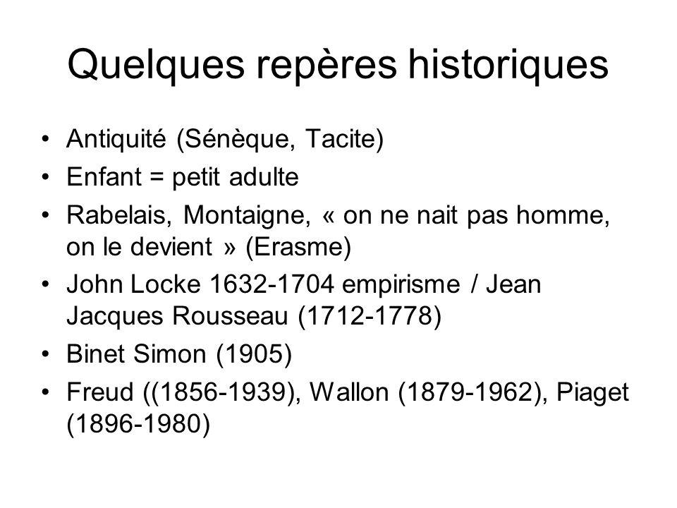 Quelques repères historiques Antiquité (Sénèque, Tacite) Enfant = petit adulte Rabelais, Montaigne, « on ne nait pas homme, on le devient » (Erasme) John Locke 1632-1704 empirisme / Jean Jacques Rousseau (1712-1778) Binet Simon (1905) Freud ((1856-1939), Wallon (1879-1962), Piaget (1896-1980)