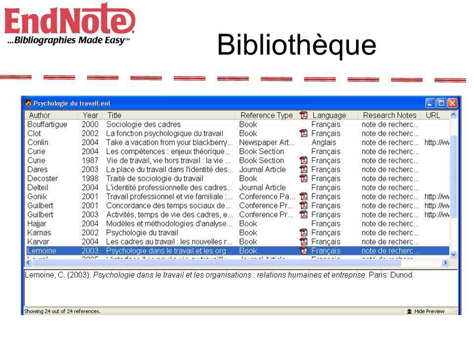 A la découverte dEndnote -Création dune bibliothèque -Choix de la norme bibliographique -Création dune référence -Recherche multicritères