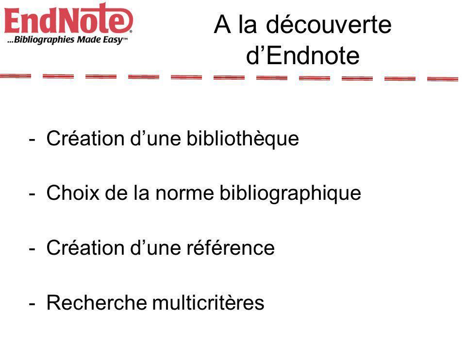 Liens avec Word Menu Endnote dans Word Mise en forme automatique –Citations dans le texte –Bibliographie automatique –Note de bas de page –Modèles de documents