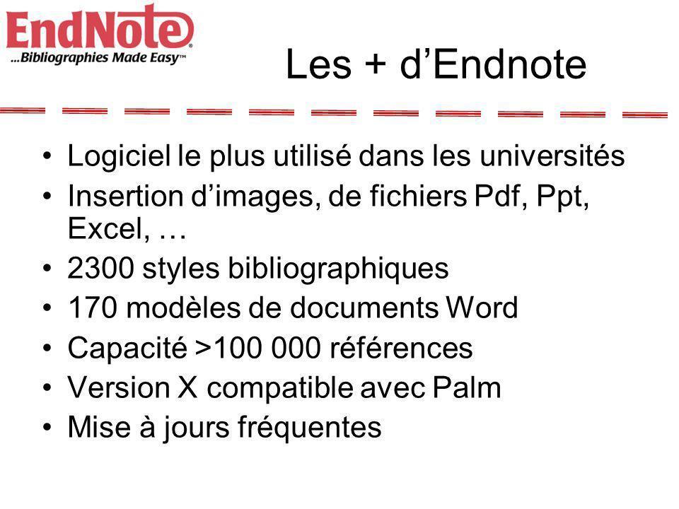 Les + dEndnote Logiciel le plus utilisé dans les universités Insertion dimages, de fichiers Pdf, Ppt, Excel, … 2300 styles bibliographiques 170 modèle