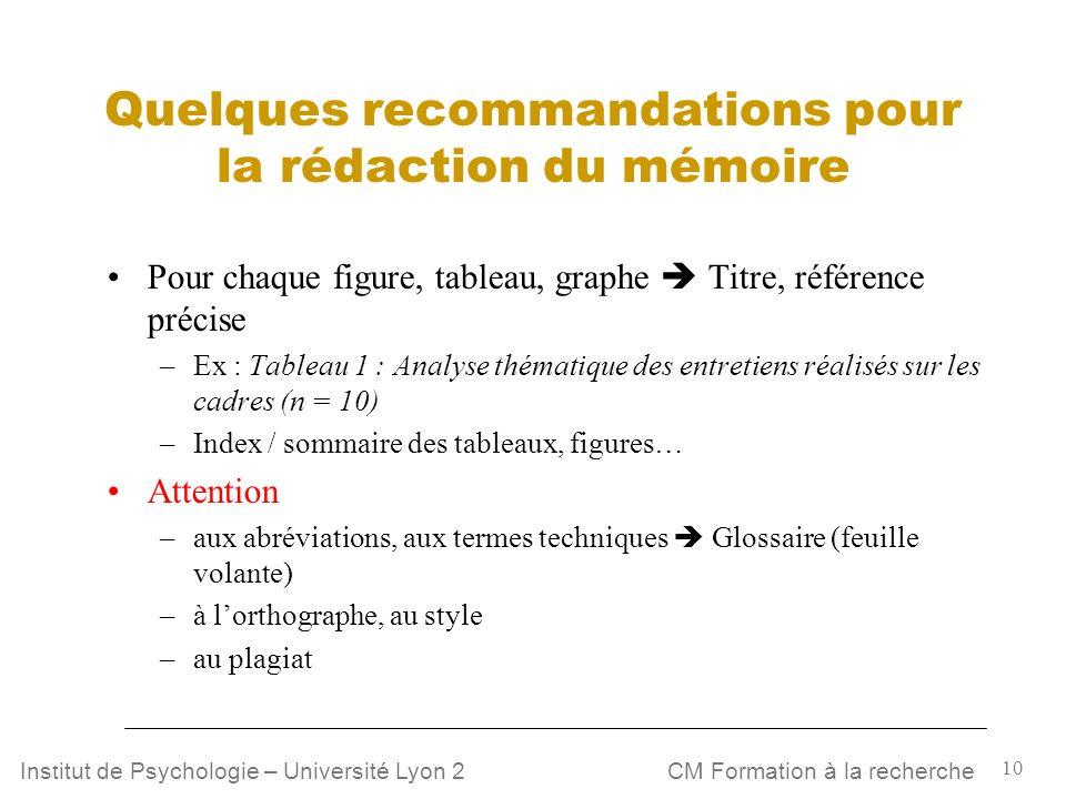 10 CM Formation à la rechercheInstitut de Psychologie – Université Lyon 2 Quelques recommandations pour la rédaction du mémoire Pour chaque figure, ta