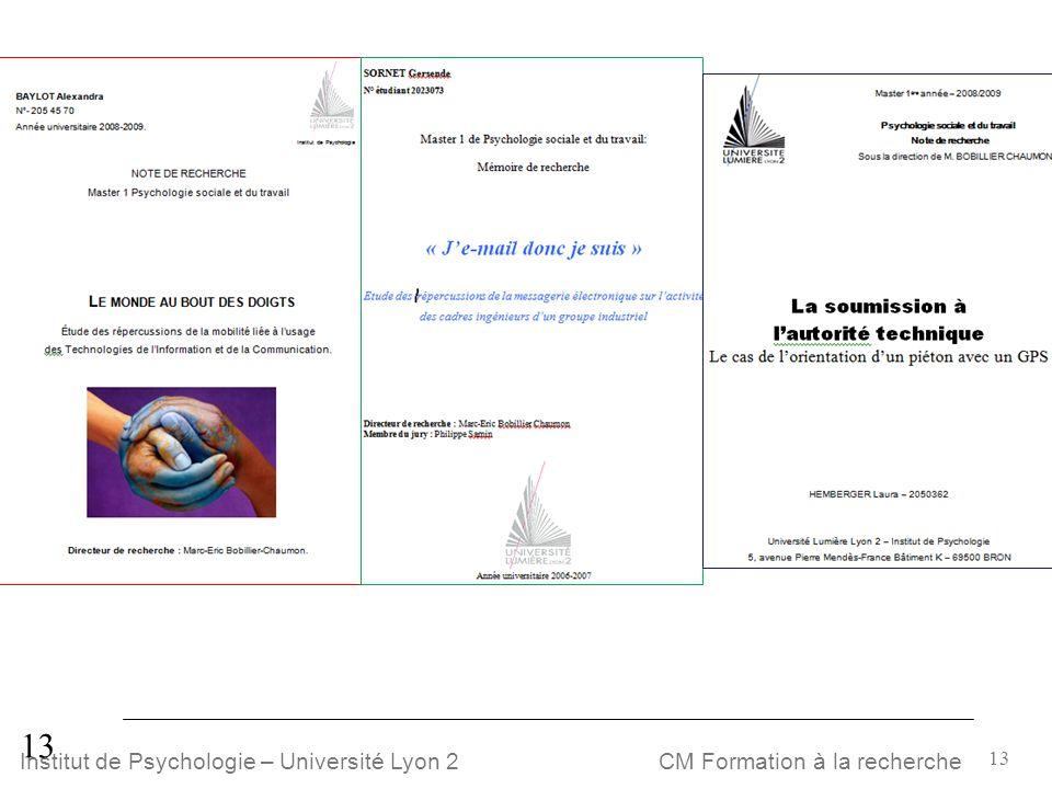 13 CM Formation à la rechercheInstitut de Psychologie – Université Lyon 2 13