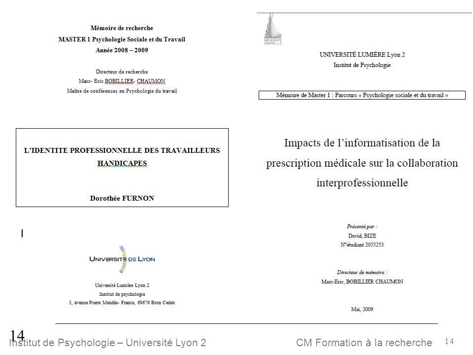 14 CM Formation à la rechercheInstitut de Psychologie – Université Lyon 2 E 14