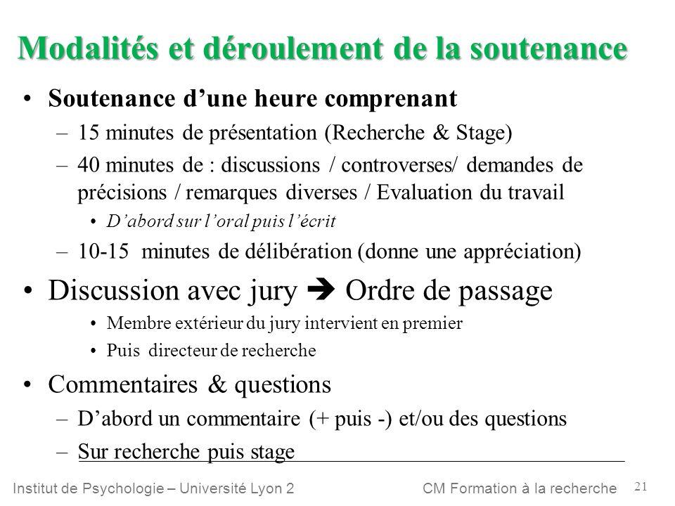21 CM Formation à la rechercheInstitut de Psychologie – Université Lyon 2 Modalités et déroulement de la soutenance Soutenance dune heure comprenant –
