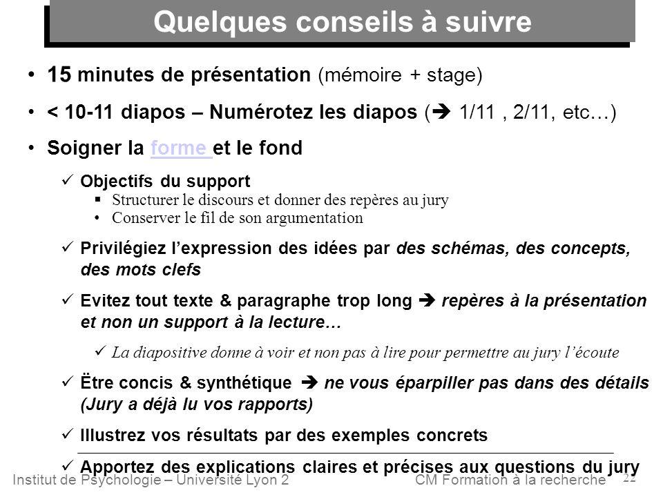 22 CM Formation à la rechercheInstitut de Psychologie – Université Lyon 2 15 minutes de présentation (mémoire + stage) < 10-11 diapos – Numérotez les