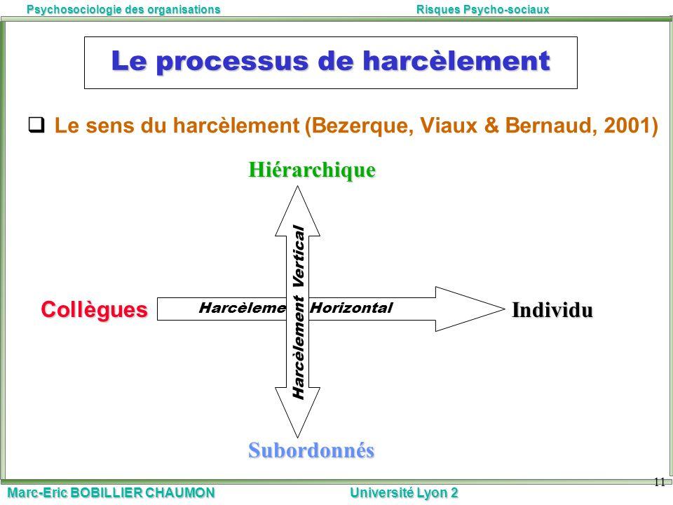 Marc-Eric BOBILLIER CHAUMON Université Lyon 2 Psychosociologie des organisationsRisques Psycho-sociaux 11 Le processus de harcèlement Le sens du harcè