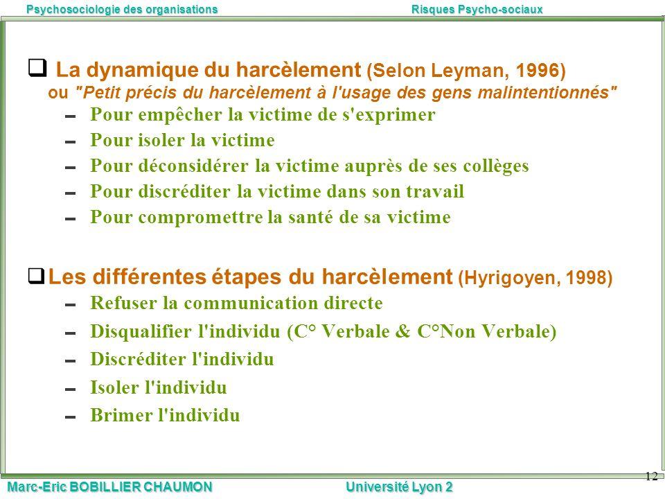 Marc-Eric BOBILLIER CHAUMON Université Lyon 2 Psychosociologie des organisationsRisques Psycho-sociaux 12 La dynamique du harcèlement (Selon Leyman, 1