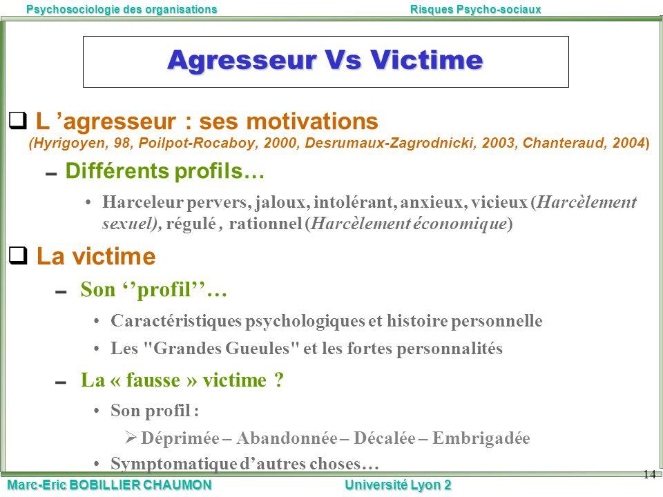 Marc-Eric BOBILLIER CHAUMON Université Lyon 2 Psychosociologie des organisationsRisques Psycho-sociaux Agresseur Vs Victime L agresseur : ses motivati