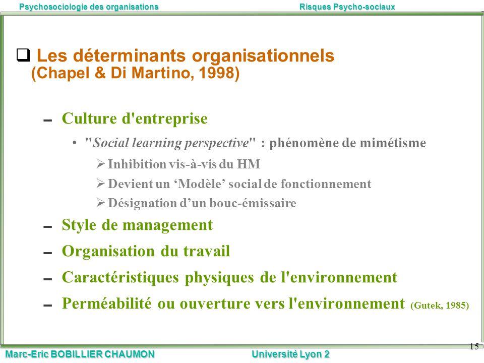 Marc-Eric BOBILLIER CHAUMON Université Lyon 2 Psychosociologie des organisationsRisques Psycho-sociaux 15 Les déterminants organisationnels (Chapel &