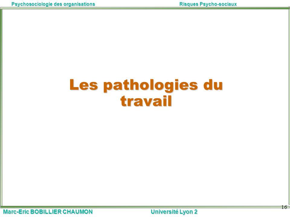 Marc-Eric BOBILLIER CHAUMON Université Lyon 2 Psychosociologie des organisationsRisques Psycho-sociaux 16 Les pathologies du travail