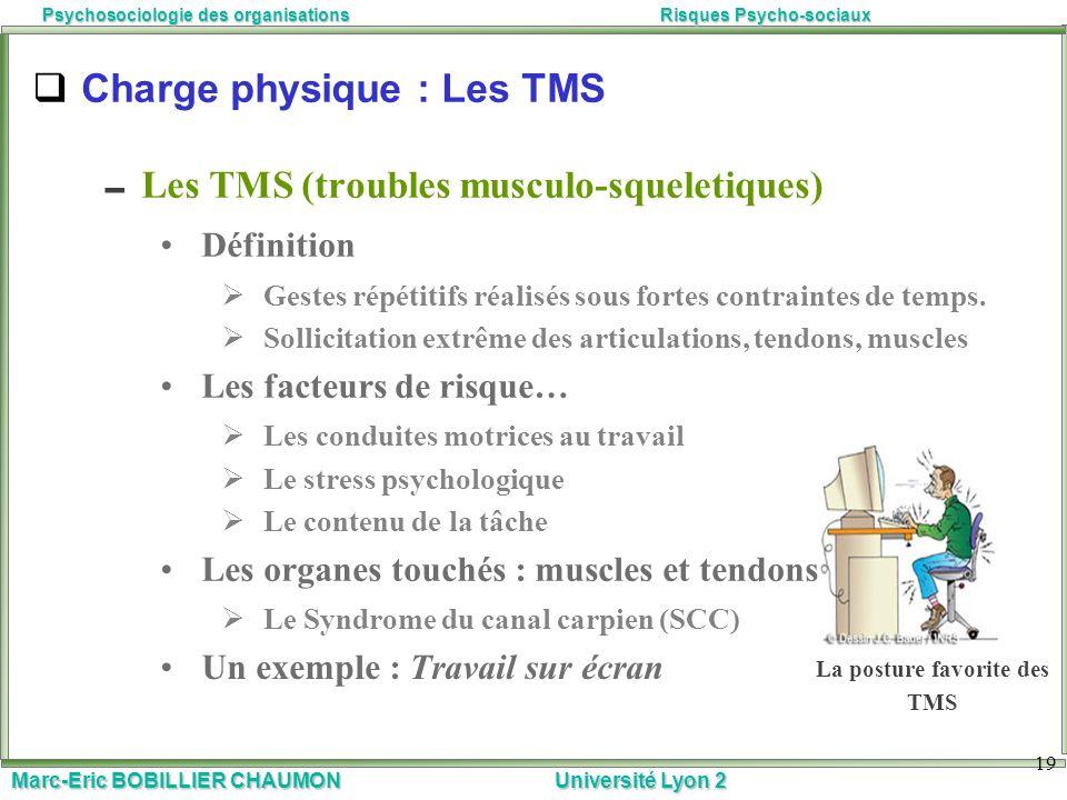 Marc-Eric BOBILLIER CHAUMON Université Lyon 2 Psychosociologie des organisationsRisques Psycho-sociaux 19 Charge physique : Les TMS Les TMS (troubles