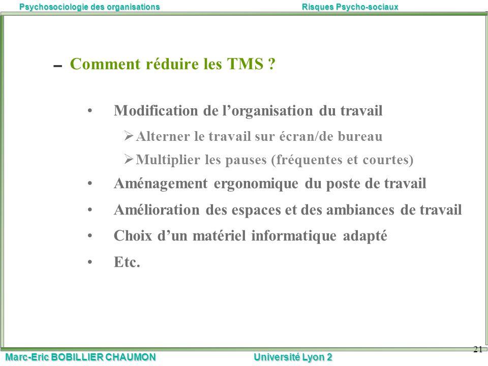 Marc-Eric BOBILLIER CHAUMON Université Lyon 2 Psychosociologie des organisationsRisques Psycho-sociaux 21 Comment réduire les TMS ? Modification de lo