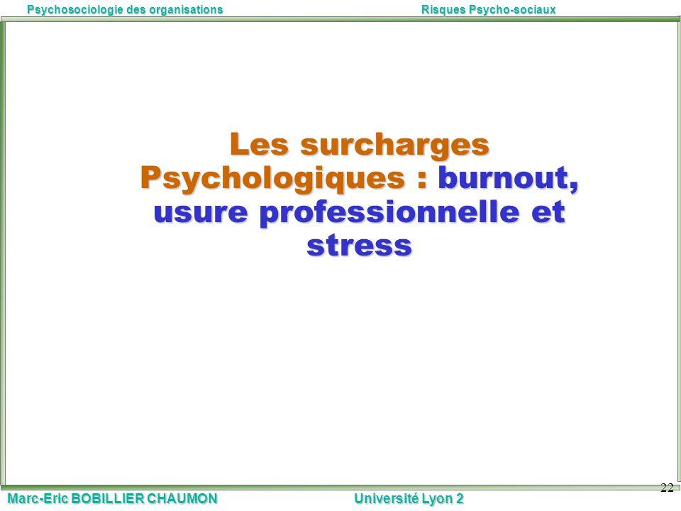 Marc-Eric BOBILLIER CHAUMON Université Lyon 2 Psychosociologie des organisationsRisques Psycho-sociaux 22 Les surcharges Psychologiques : burnout, usu