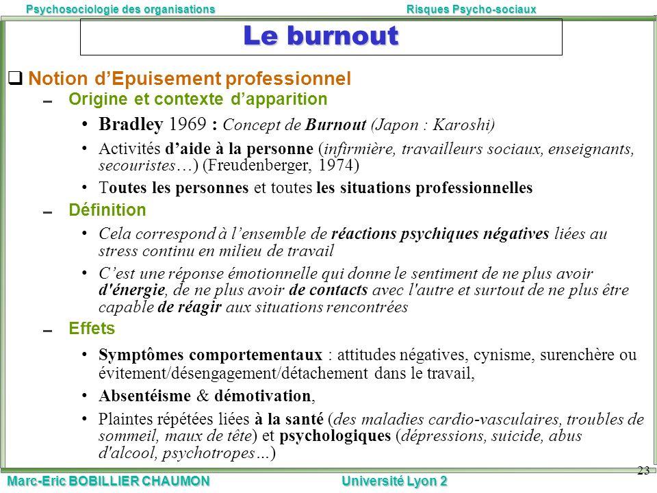 Marc-Eric BOBILLIER CHAUMON Université Lyon 2 Psychosociologie des organisationsRisques Psycho-sociaux 23 Le burnout Notion dEpuisement professionnel