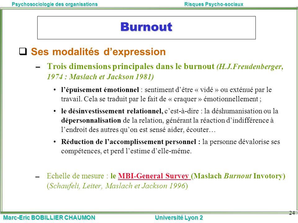 Marc-Eric BOBILLIER CHAUMON Université Lyon 2 Psychosociologie des organisationsRisques Psycho-sociaux 24 Burnout Ses modalités dexpression Trois dime