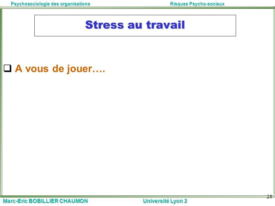 Marc-Eric BOBILLIER CHAUMON Université Lyon 2 Psychosociologie des organisationsRisques Psycho-sociaux 28 Stress au travail A vous de jouer….