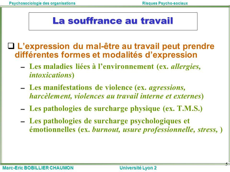 Marc-Eric BOBILLIER CHAUMON Université Lyon 2 Psychosociologie des organisationsRisques Psycho-sociaux 5 La souffrance au travail Lexpression du mal-ê
