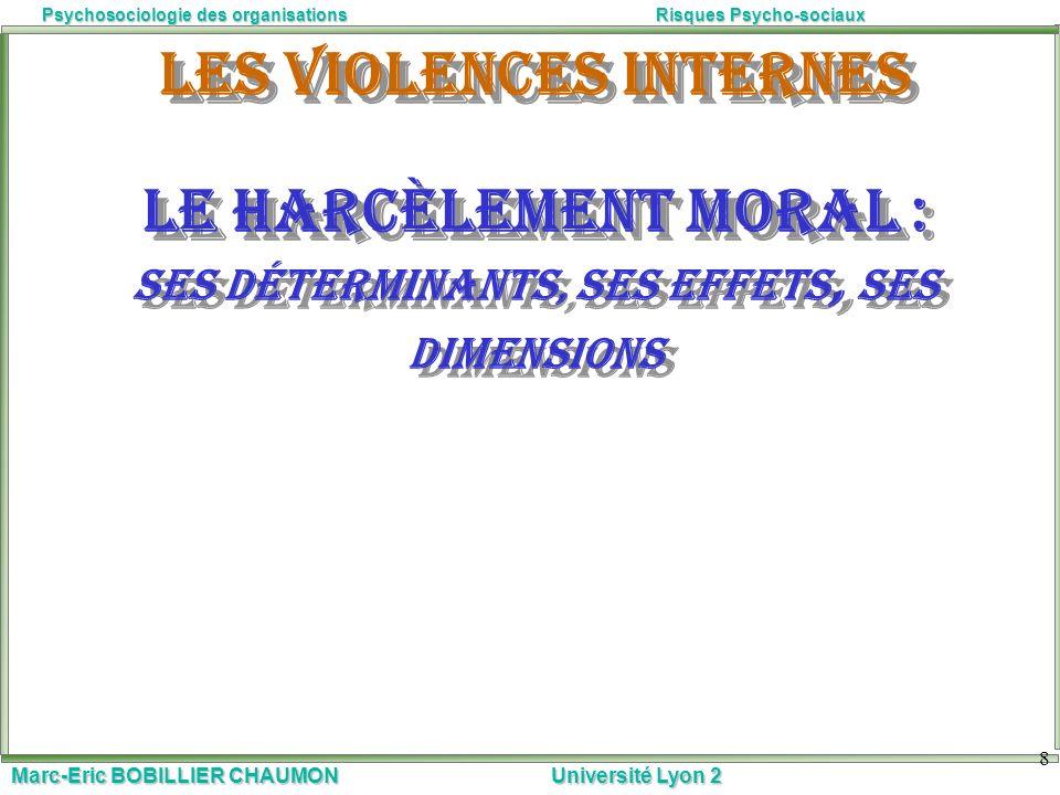 Marc-Eric BOBILLIER CHAUMON Université Lyon 2 Psychosociologie des organisationsRisques Psycho-sociaux 8 Les violences internes Le harcèlement moral :