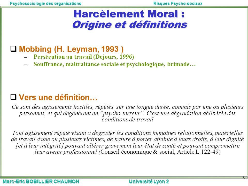 Marc-Eric BOBILLIER CHAUMON Université Lyon 2 Psychosociologie des organisationsRisques Psycho-sociaux 9 Harcèlement Moral : Origine et définitions Mo