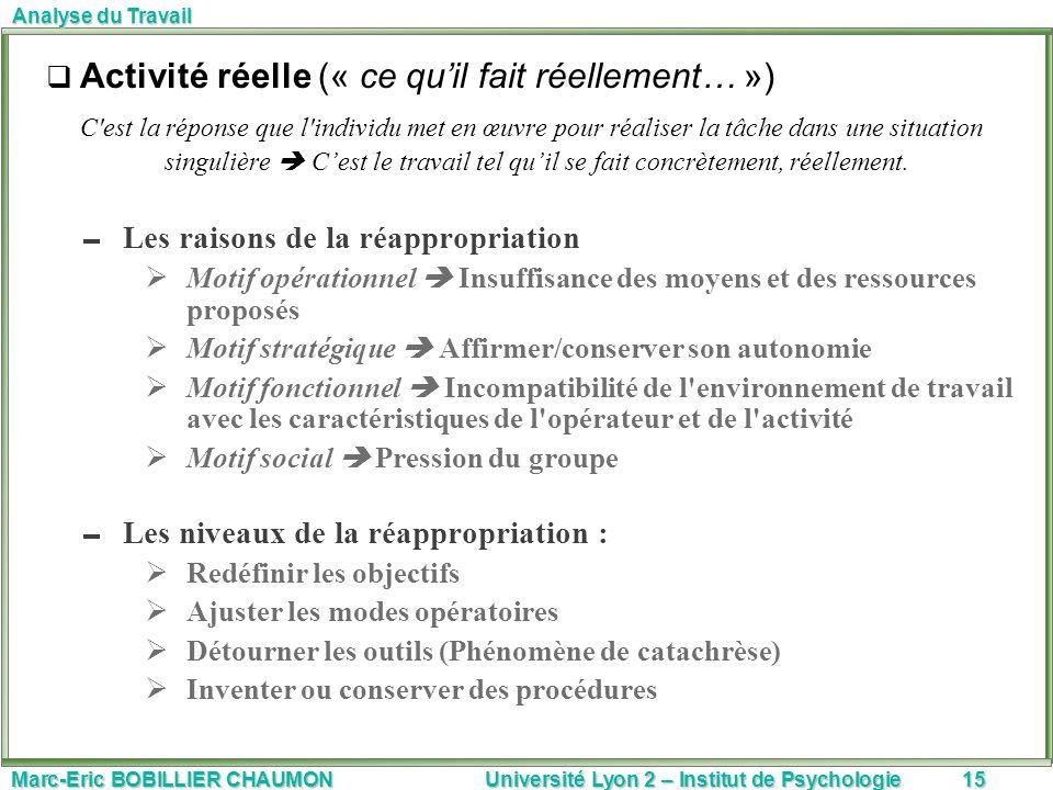 Marc-Eric BOBILLIER CHAUMON Université Lyon 2 – Institut de Psychologie15 Analyse du Travail Activité réelle (« ce quil fait réellement… ») C'est la r
