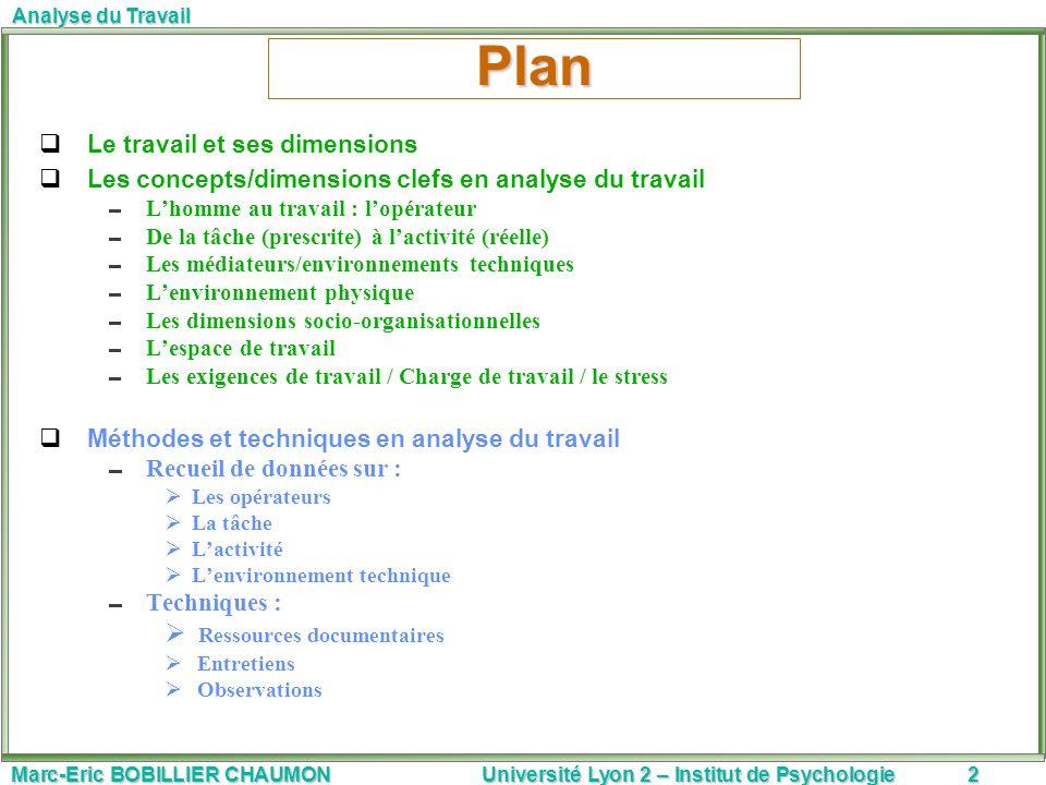 Marc-Eric BOBILLIER CHAUMON Université Lyon 2 – Institut de Psychologie13 Analyse du Travail II.