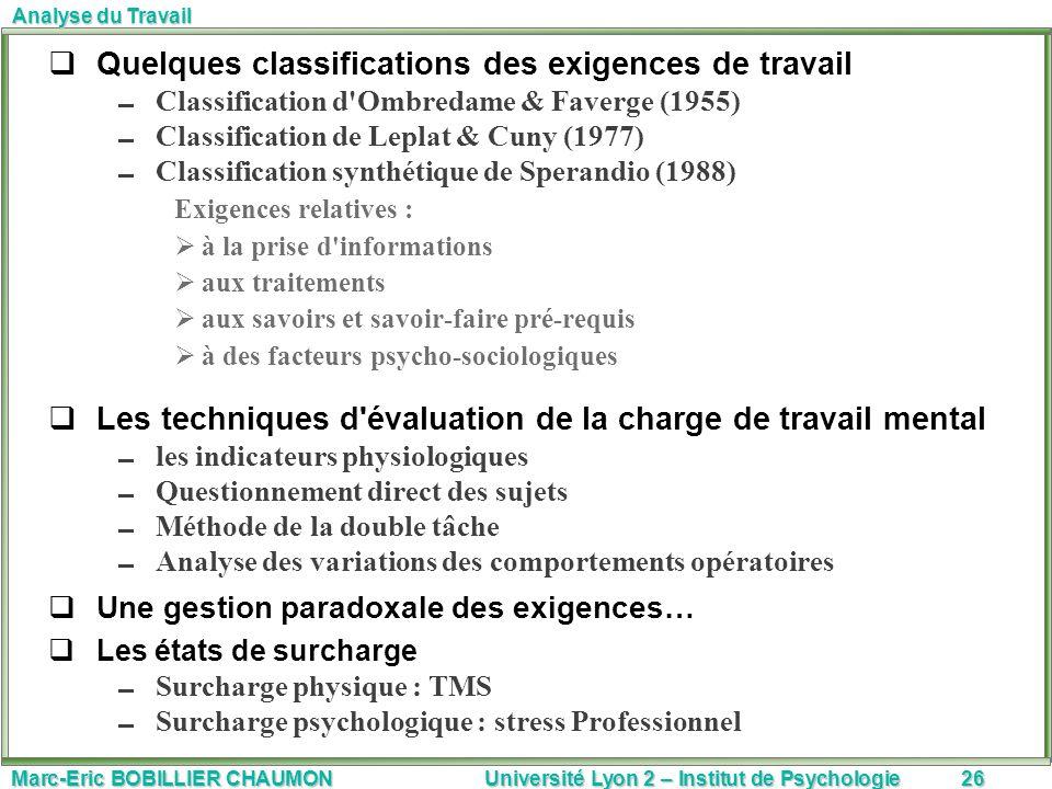 Marc-Eric BOBILLIER CHAUMON Université Lyon 2 – Institut de Psychologie26 Analyse du Travail Quelques classifications des exigences de travail Classif