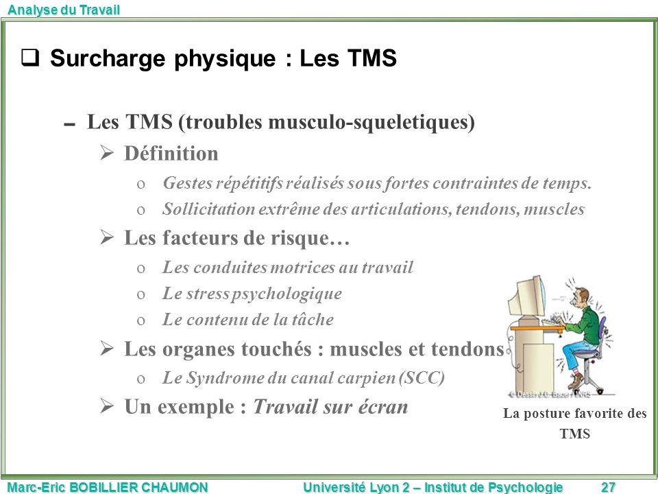 Marc-Eric BOBILLIER CHAUMON Université Lyon 2 – Institut de Psychologie27 Analyse du Travail Surcharge physique : Les TMS Les TMS (troubles musculo-sq