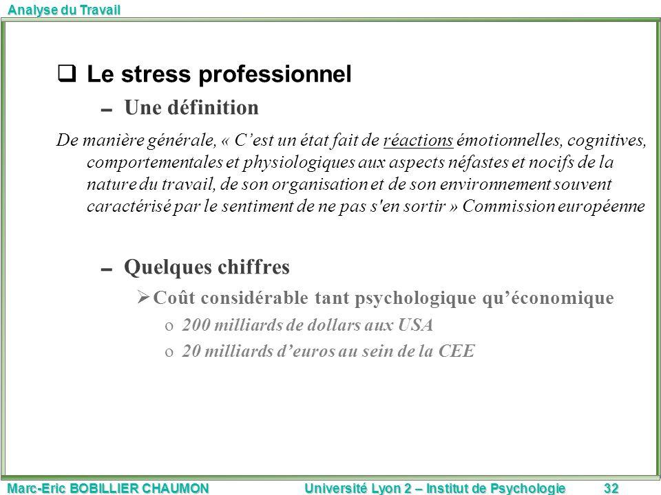 Marc-Eric BOBILLIER CHAUMON Université Lyon 2 – Institut de Psychologie32 Analyse du Travail Le stress professionnel Une définition De manière général