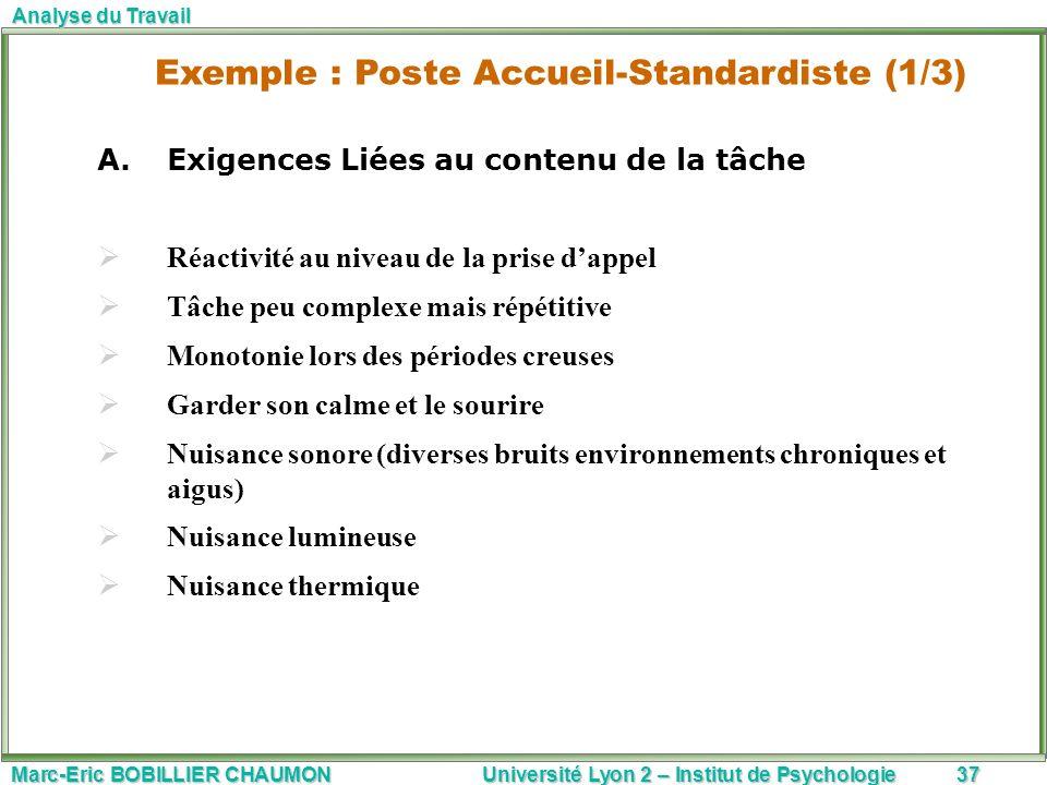 Marc-Eric BOBILLIER CHAUMON Université Lyon 2 – Institut de Psychologie37 Analyse du Travail A.Exigences Liées au contenu de la tâche Réactivité au ni