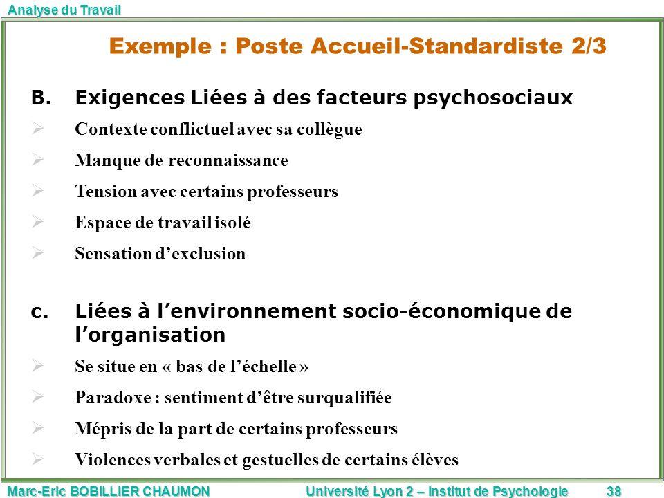 Marc-Eric BOBILLIER CHAUMON Université Lyon 2 – Institut de Psychologie38 Analyse du Travail B.Exigences Liées à des facteurs psychosociaux Contexte c