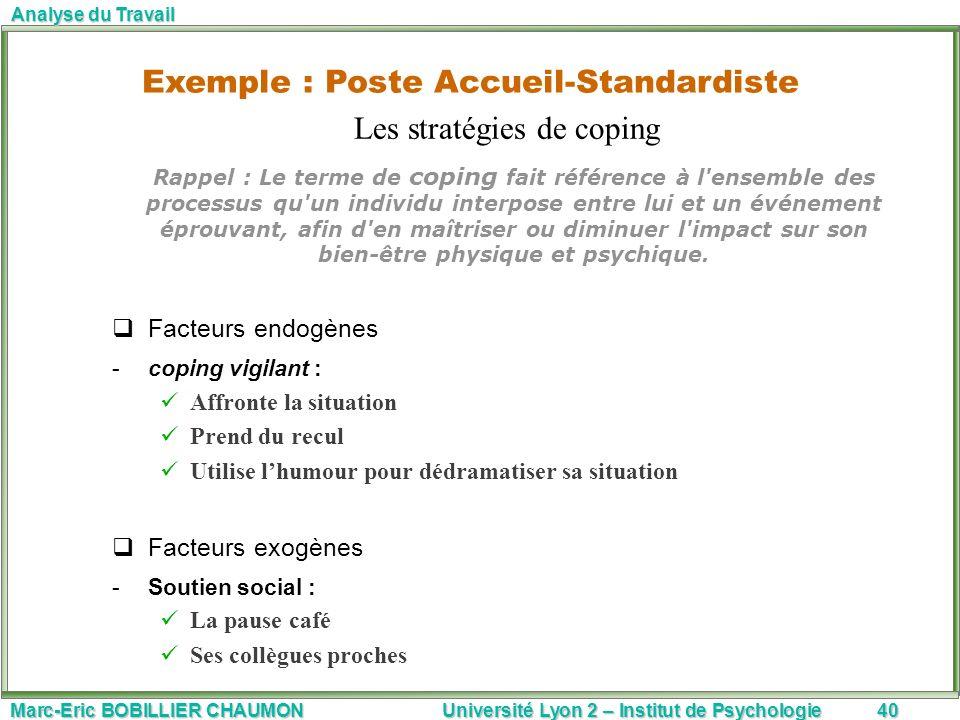 Marc-Eric BOBILLIER CHAUMON Université Lyon 2 – Institut de Psychologie40 Analyse du Travail Rappel : Le terme de coping fait référence à l'ensemble d