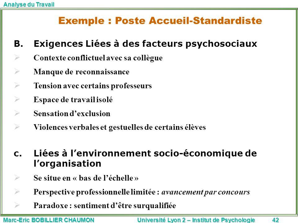 Marc-Eric BOBILLIER CHAUMON Université Lyon 2 – Institut de Psychologie42 Analyse du Travail B.Exigences Liées à des facteurs psychosociaux Contexte c