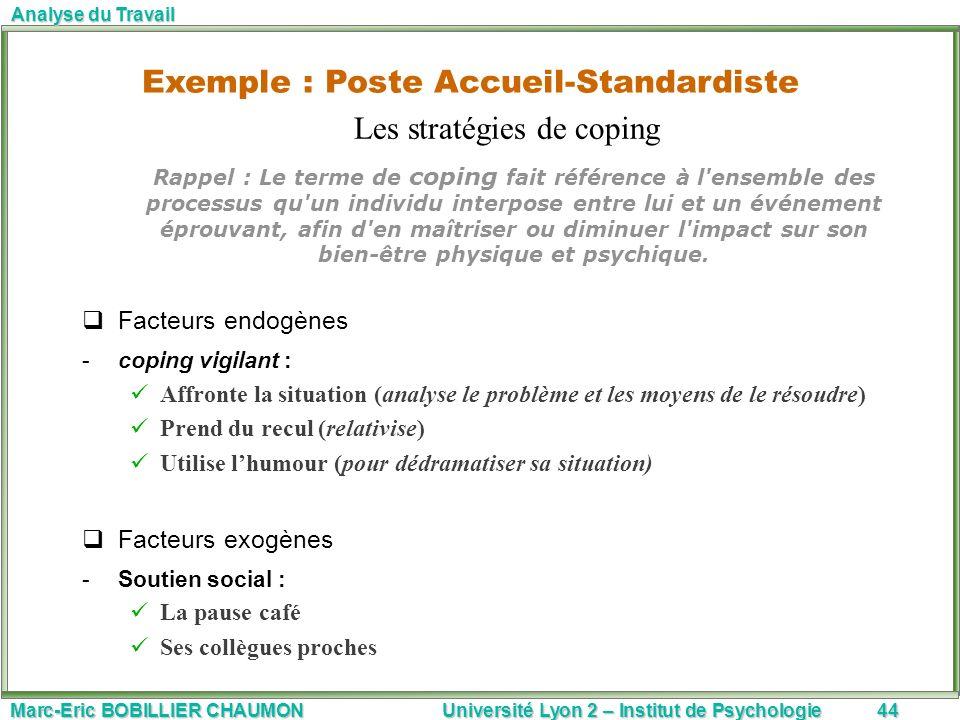 Marc-Eric BOBILLIER CHAUMON Université Lyon 2 – Institut de Psychologie44 Analyse du Travail Rappel : Le terme de coping fait référence à l'ensemble d