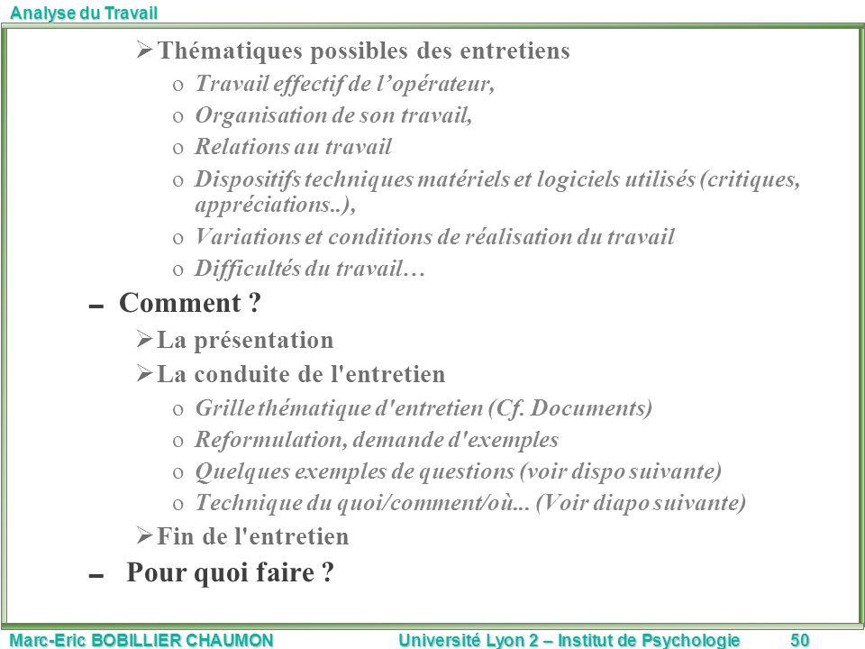 Marc-Eric BOBILLIER CHAUMON Université Lyon 2 – Institut de Psychologie50 Analyse du Travail Thématiques possibles des entretiens oTravail effectif de