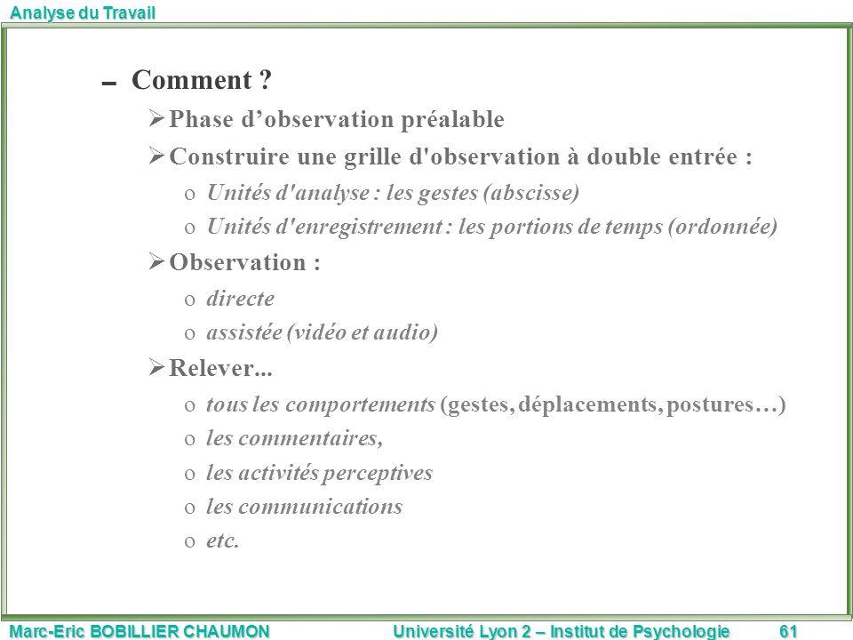Marc-Eric BOBILLIER CHAUMON Université Lyon 2 – Institut de Psychologie61 Analyse du Travail Comment ? Phase dobservation préalable Construire une gri